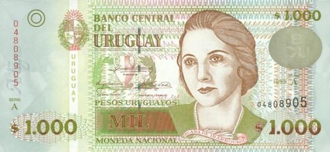 Уругвайские песо. Купюра номиналом в 1000 UYU, аверс (лицевая сторона).