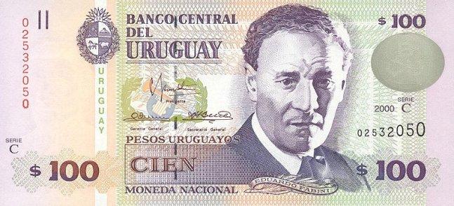 Уругвайские песо. Купюра номиналом в 100  UYU, аверс (лицевая сторона).