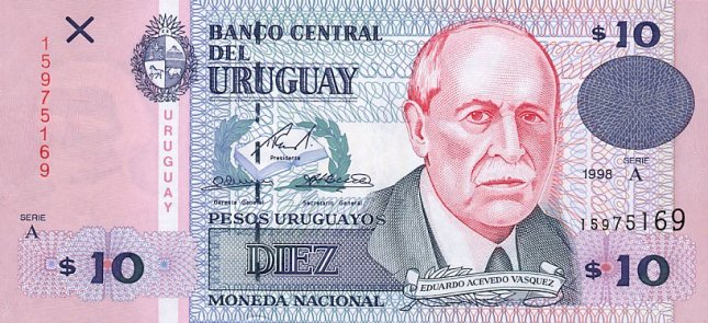 Уругвайские песо. Купюра номиналом в 10 UYU, аверс (лицевая сторона).