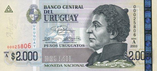 Уругвайские песо. Купюра номиналом в 2000  UYU, аверс (лицевая сторона).
