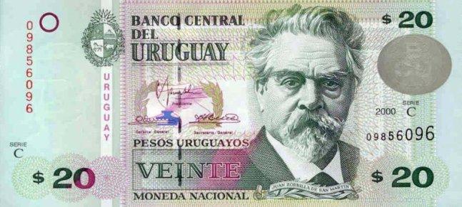 Уругвайские песо. Купюра номиналом в 20 UYU, аверс (лицевая сторона).