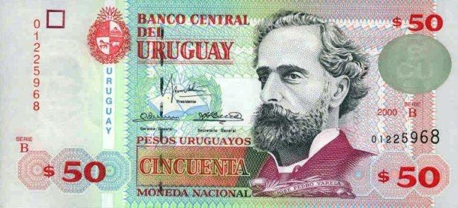 Уругвайские песо. Купюра номиналом в 50 UYU, аверс (лицевая сторона).