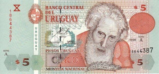 Уругвайские песо. Купюра номиналом в 5 UYU, аверс (лицевая сторона).