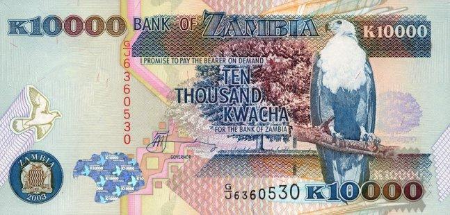 Замбийская квача. Купюра номиналом в 10000 ZMK, аверс (лицевая сторона).