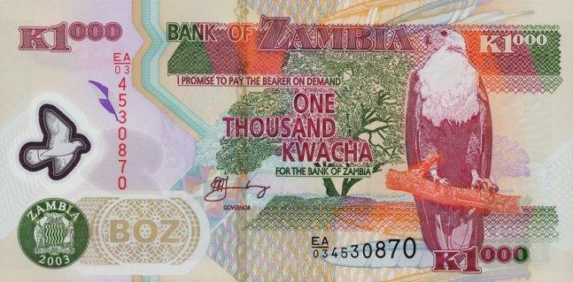Замбийская квача. Купюра номиналом в 1000 ZMK, аверс (лицевая сторона).