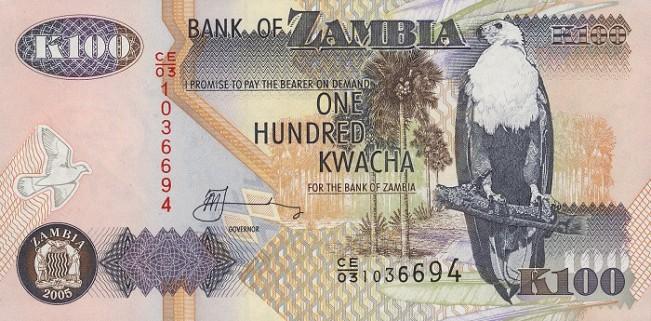 Замбийская квача. Купюра номиналом в 100 ZMK, аверс (лицевая сторона).