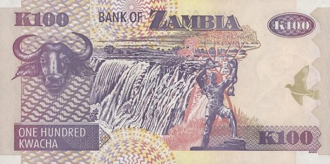 Замбийская квача. Купюра номиналом в 100 ZMK, реверс (обратная сторона).