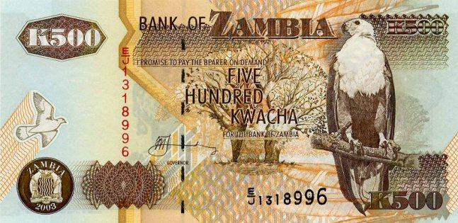 Замбийская квача. Купюра номиналом в 500 ZMK, аверс (лицевая сторона).