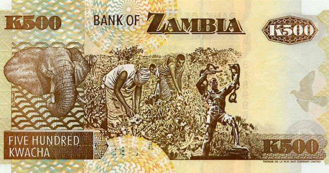 Замбийская квача. Купюра номиналом в 500 ZMK, реверс (обратная сторона).
