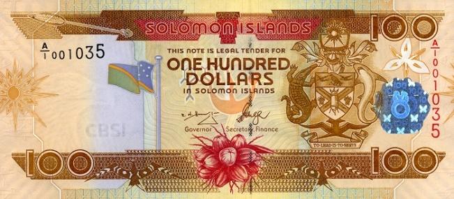 Соломоновых островов доллар. Купюра номиналом в 100 SBD, аверс (лицевая сторона).