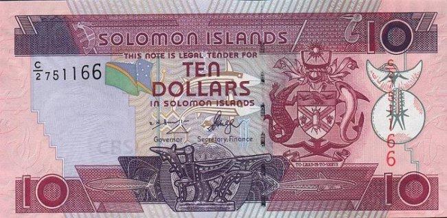 Соломоновых островов доллар. Купюра номиналом в 10 SBD, аверс (лицевая сторона).