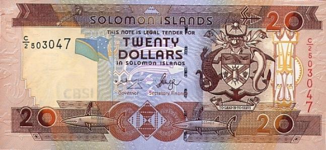 Соломоновых островов доллар. Купюра номиналом в 20 SBD, аверс (лицевая сторона).
