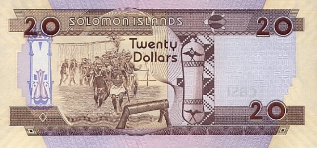 Соломоновых островов доллар. Купюра номиналом в 20 SBD, реверс (обратная сторона).