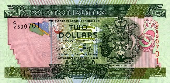 Соломоновых островов доллар. Купюра номиналом в 2 SBD, аверс (лицевая сторона).