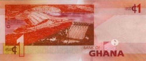 Ганский седи. Купюра номиналом в 1 GHS, реверс (обратная сторона).