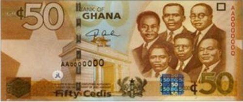 Ганский седи. Купюра номиналом в 50 GHS, аверс (лицевая сторона).