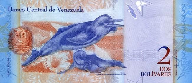ВенесуэльБоливар Фуэрте. Купюра номиналом в 2 VEF, реверс (обратная сторона).