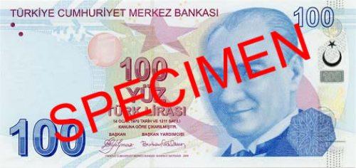 Турецкая лира. Купюра номиналом в 100 TRY, аверс (лицевая сторона).