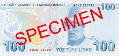 Турецкая лира. Купюра номиналом в 100 TRY, реверс (обратная сторона).