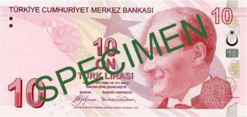 Турецкая лира. Купюра номиналом в 10 TRY, аверс (лицевая сторона).