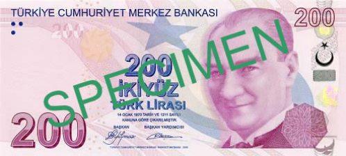 Турецкая лира. Купюра номиналом в 200 TRY, аверс (лицевая сторона).