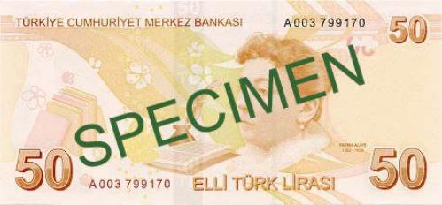 Турецкая лира. Купюра номиналом в 50 TRY, реверс (обратная сторона).