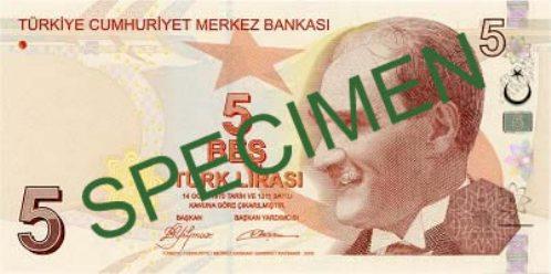 Турецкая лира. Купюра номиналом в 5 TRY, аверс (лицевая сторона).
