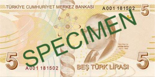 Турецкая лира. Купюра номиналом в 5 TRY, реверс (обратная сторона).