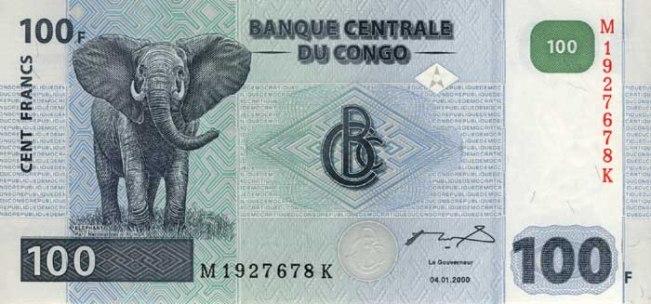 Конголезский франк. Купюра номиналом в 100 CDF, аверс (лицевая сторона).