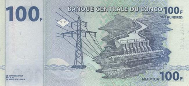 Конголезский франк. Купюра номиналом в 100 CDF, реверс (обратная сторона).