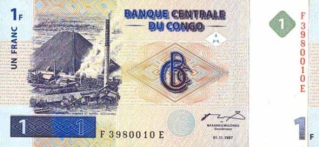 Конголезский франк. Купюра номиналом в 1 CDF, аверс (лицевая сторона).