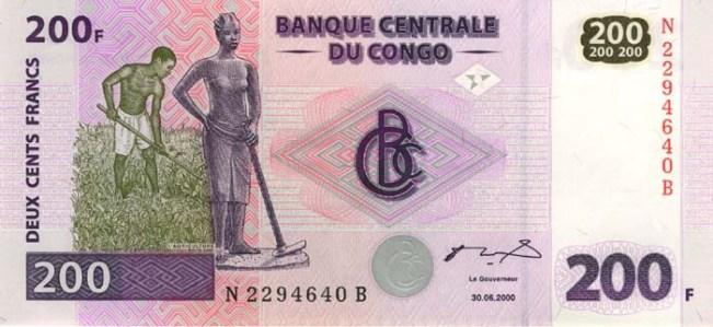 Конголезский франк. Купюра номиналом в 200 CDF, аверс (лицевая сторона).