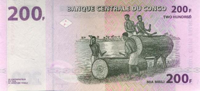 Конголезский франк. Купюра номиналом в 200 CDF, реверс (обратная сторона).