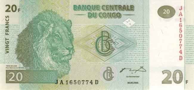 Конголезский франк. Купюра номиналом в 20 CDF, аверс (лицевая сторона).