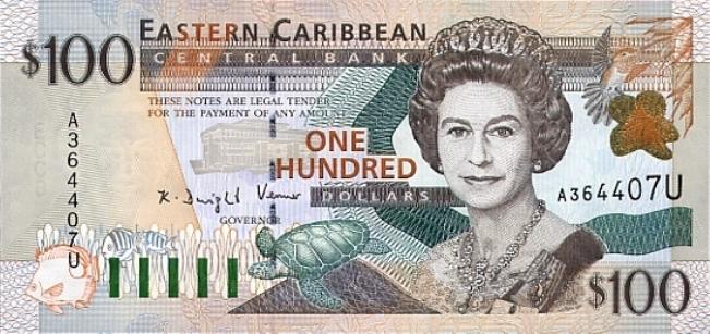 Восточно-карибский доллар. Купюра номиналом в 100 XCD, аверс (лицевая сторона).