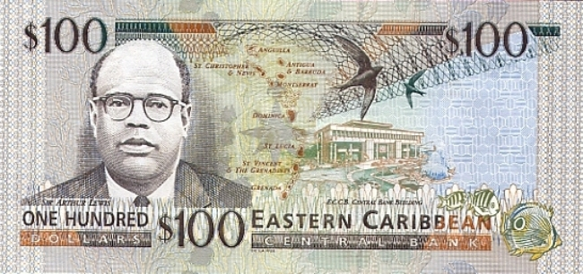 Восточно-карибский доллар. Купюра номиналом в 100 XCD, реверс (обратная сторона).