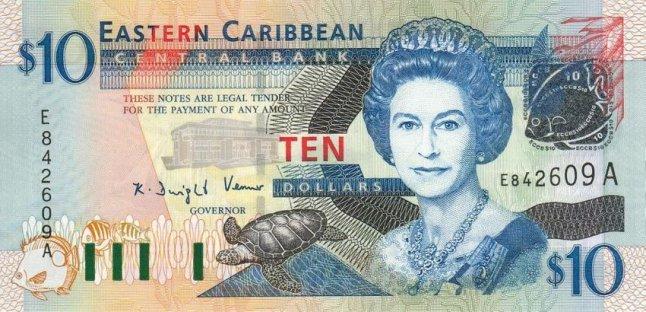 Восточно-карибский доллар. Купюра номиналом в 10 XCD, аверс (лицевая сторона).