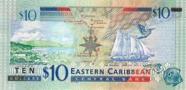 Восточно-карибский доллар. Купюра номиналом в 10 XCD, реверс (обратная сторона).