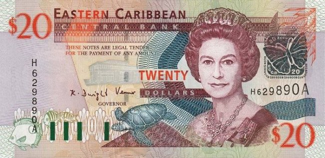 Восточно-карибский доллар. Купюра номиналом в 20 XCD, аверс (лицевая сторона).