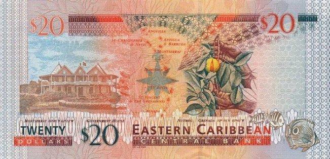 Восточно-карибский доллар. Купюра номиналом в 20 XCD, реверс (обратная сторона).