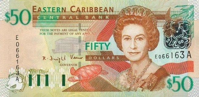 Восточно-карибский доллар. Купюра номиналом в 50  XCD, аверс (лицевая сторона).