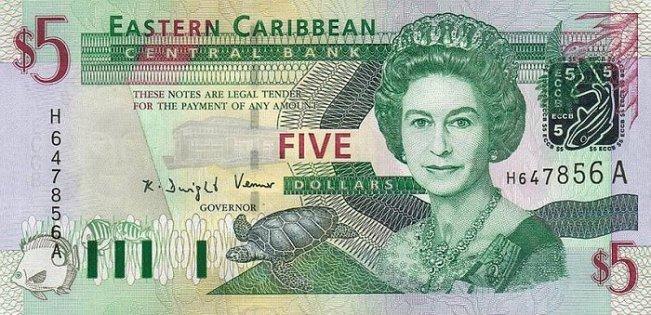 Восточно-карибский доллар. Купюра номиналом в 5 XCD, аверс (лицевая сторона).