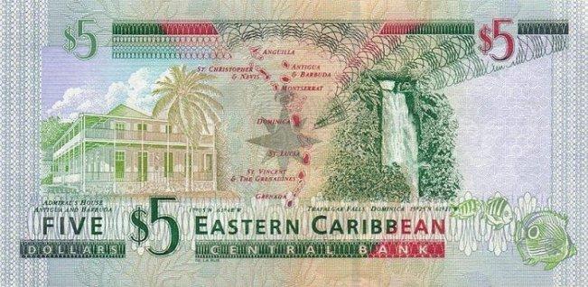 Восточно-карибский доллар. Купюра номиналом в 5 XCD, реверс (обратная сторона).