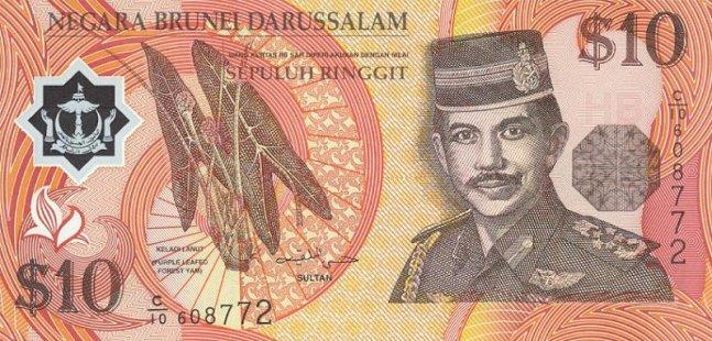 Брунейский доллар. Купюра номиналом в 10 BND, аверс (лицевая сторона).