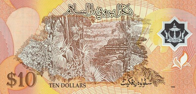 Брунейский доллар. Купюра номиналом в 10 BND, реверс (обратная сторона).