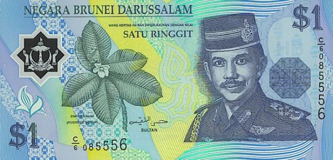 Брунейский доллар. Купюра номиналом в 1 BND, аверс (лицевая сторона).