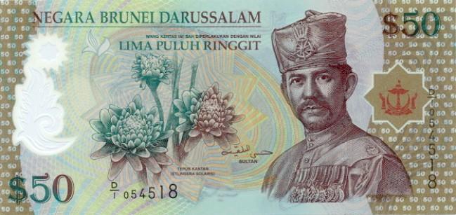 Брунейский доллар. Купюра номиналом в 50 BND, аверс (лицевая сторона).