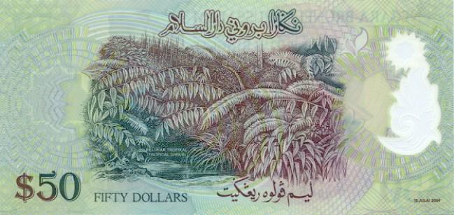 Брунейский доллар. Купюра номиналом в 50 BND, реверс (обратная сторона).