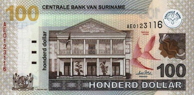 Суринамский доллар. Купюра номиналом в 100 SRD, аверс (лицевая сторона).