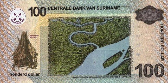 Суринамский доллар. Купюра номиналом в 100 SRD, реверс (обратная сторона).